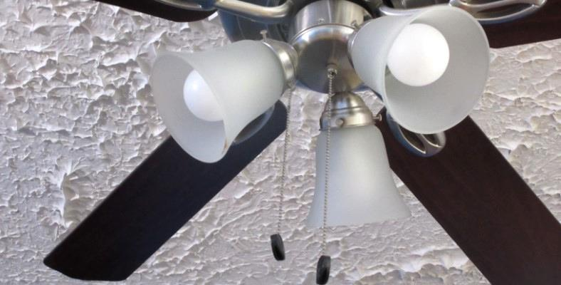 Example of a ceiling fan using LED bulbs