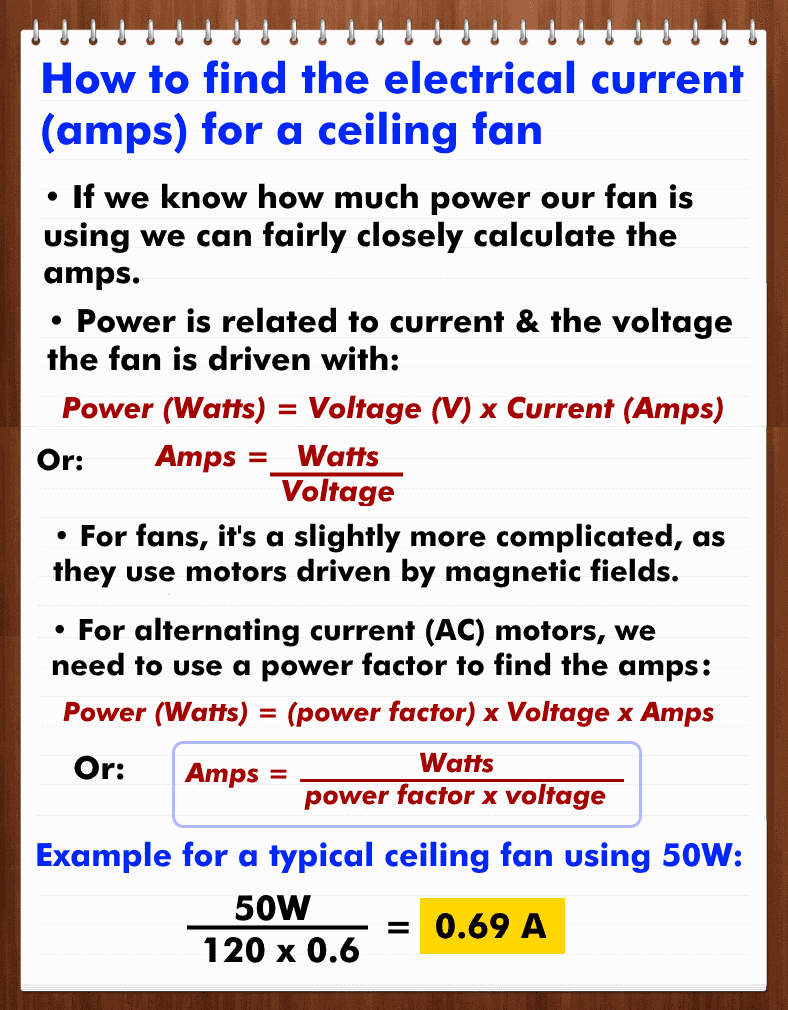How to calculate ceiling fan amps example