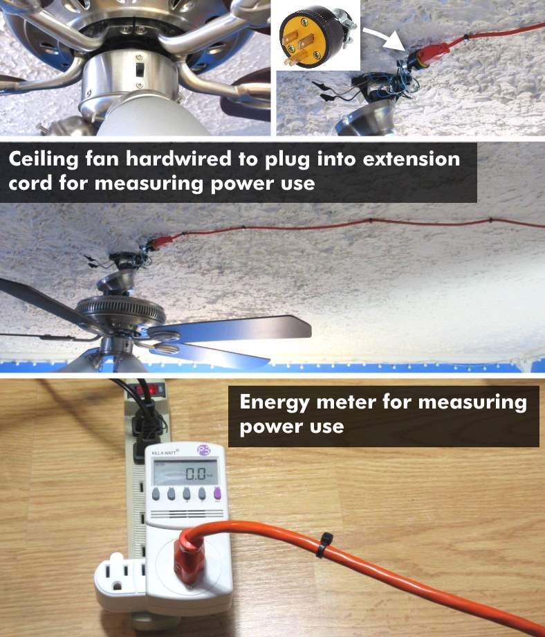 Image of test setup for measuring ceiling fan electricity/energy use with a power meter