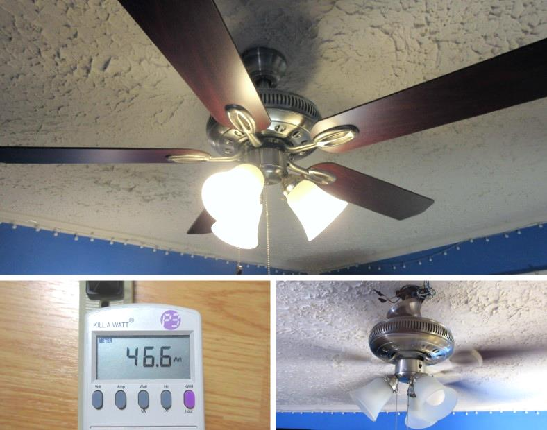 Image collage of ceiling fan in use and energy meter measuring power