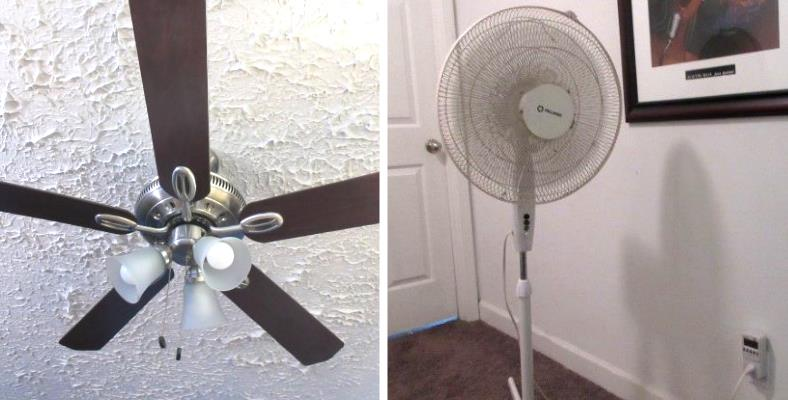 Image showing a comparison of ceiling fan vs floor fan