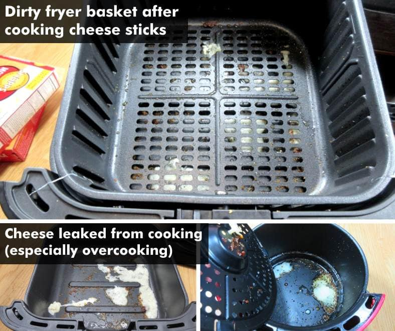 Image of dirty air fryer baskets after cooking frozen cheese sticks