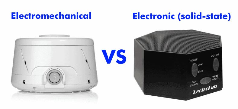 Electromechanical vs electronic white noise machines comparison image