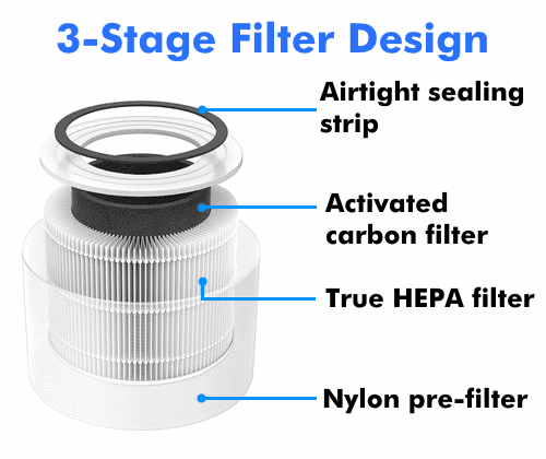 Levoit Core 300-RF true HEPA filter sectional diagram labeled