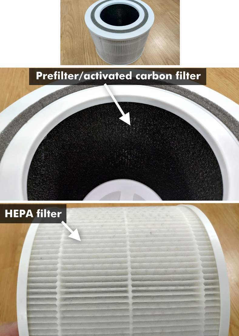 Levoit Core 300 true HEPA filter and prefilter close up views