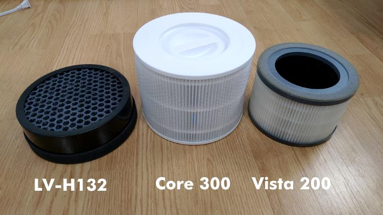 Comparison of Levoit Core 300, LV-H132, and Vista 200 HEPA purifier filters