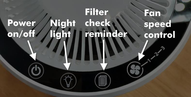 Image of Levoit LV-H132 air purifier controls with illustrated text