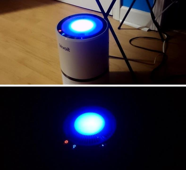 Example images of Levoit LV-H132 air purifier night light in a dark room