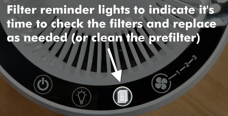 Example of the filter reminder light on a Levoit LV-H132 air purifier