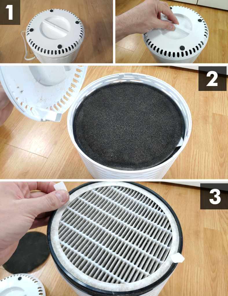 Image showing filter removal for the Levoit LV-H132 air purifier