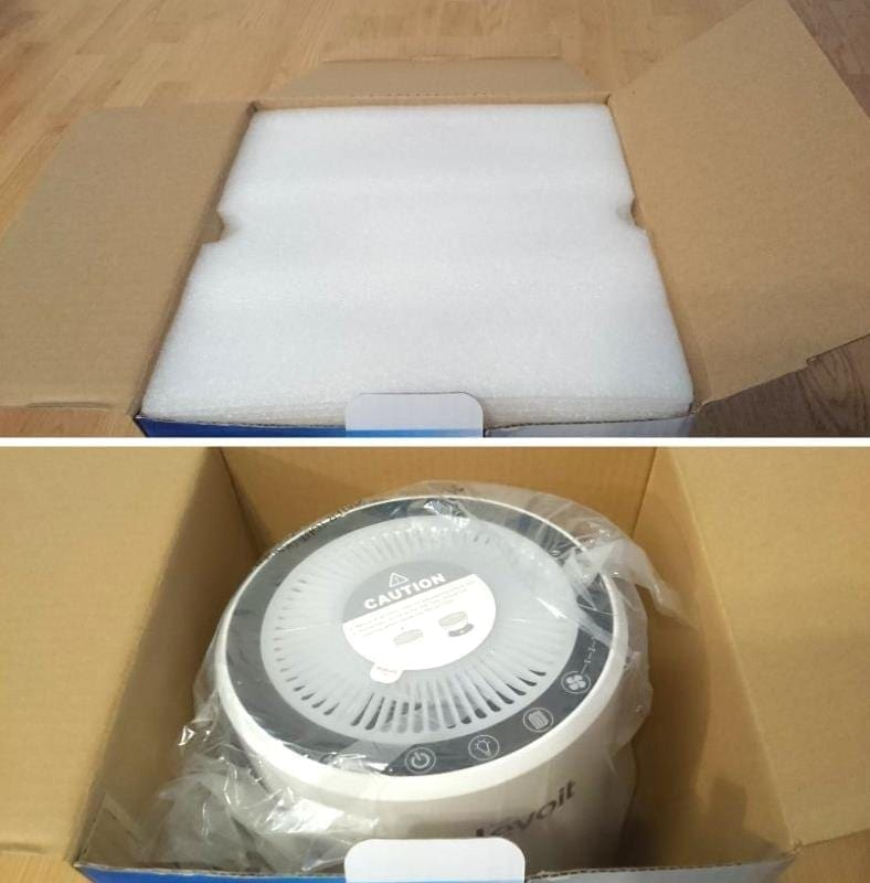 Image of unboxing the LV-H132 air purifier from its packaging