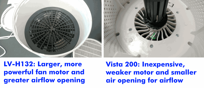 Comparison of the interior view of Levoit LV-H132 vs Vista 200 air purifiers