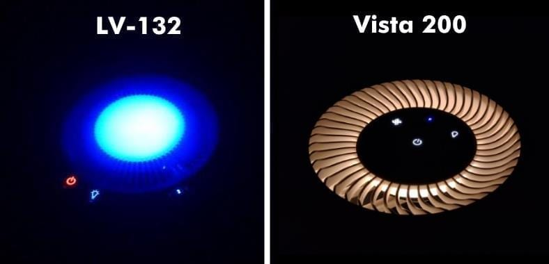 Levoit LV-H132 vs Vista 200 night light comparison images