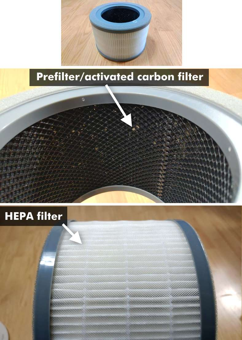 Levoit Vista 200 HEPA filter sections close up images