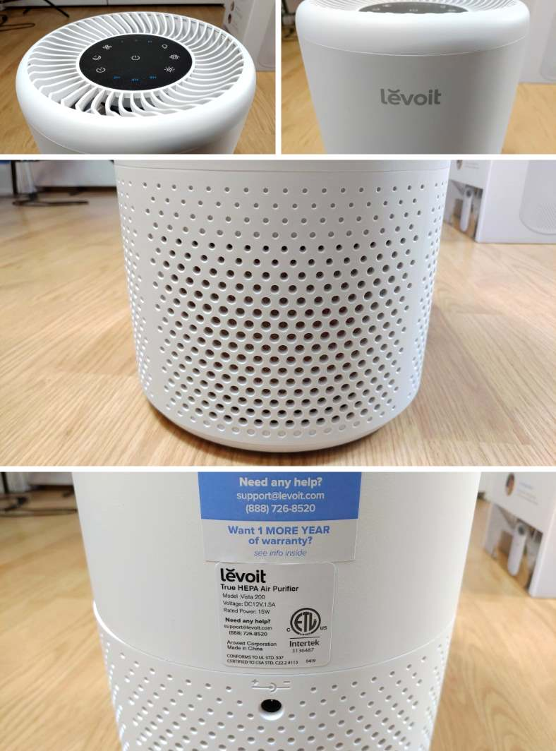 Close up images of the Levoit Vista 200 air purifier