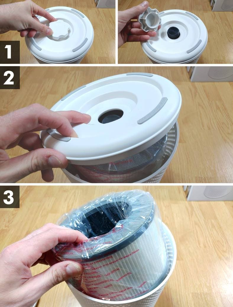 Diagram showing how to remove HEPA filter from the Levoit Vista 200 purifier