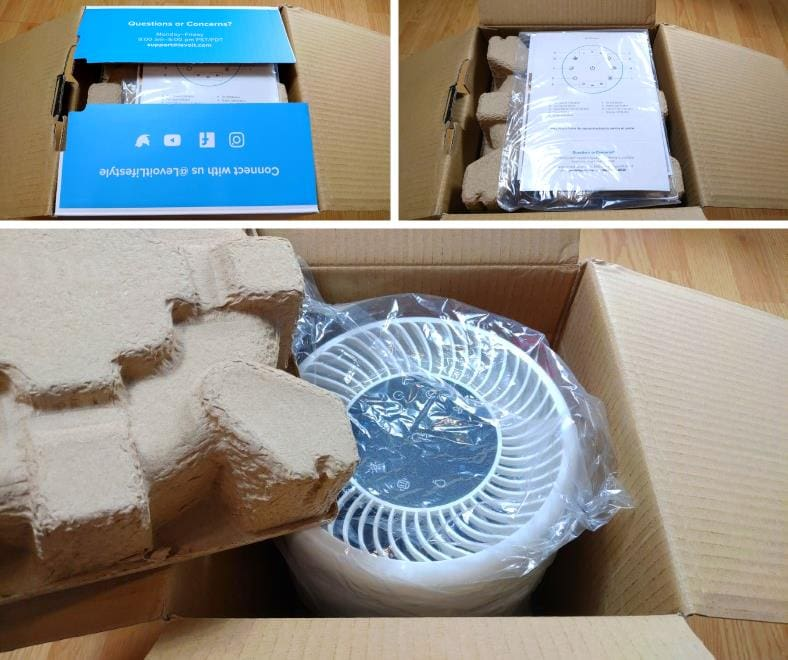 Levoit Vista 200 air purifier unboxing images