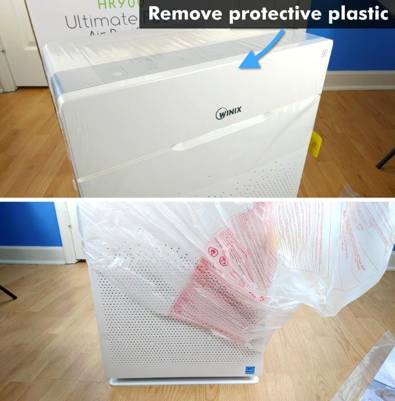 Winix HR900 air purifier removing protective plastic examples