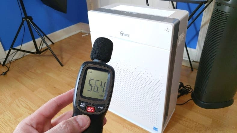 Image showing measuring noise levels of the Winix HR900 air purifier