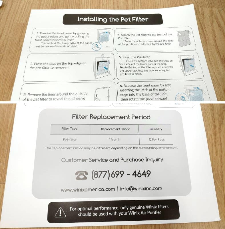 Winix HR900 pet filter instructions image
