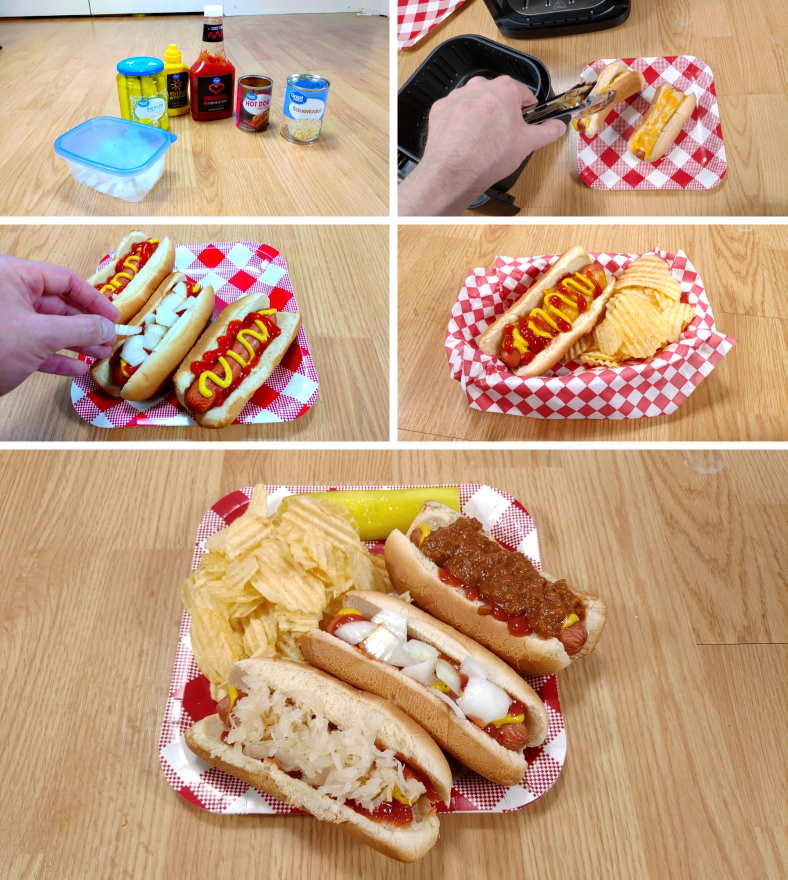 Image showing examples of adding garnish to hot dogs