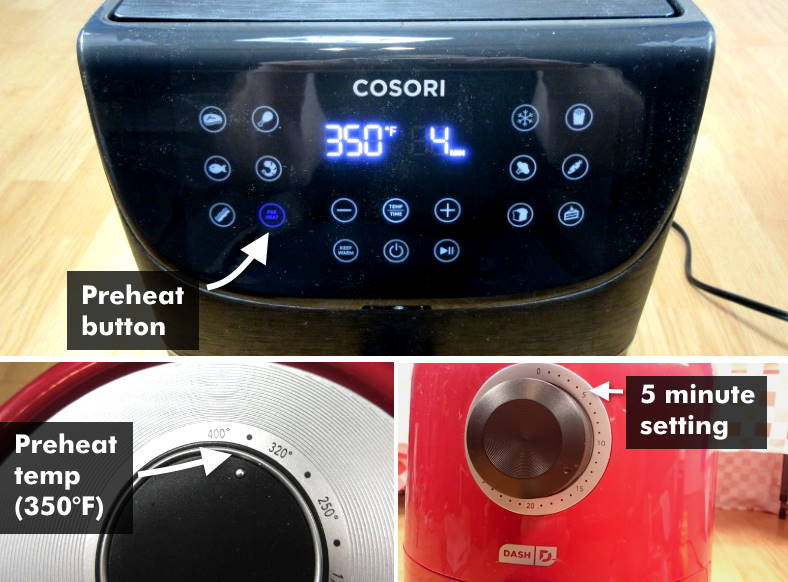 Example image showing how to preheat an air fryer for cooking hot dogs