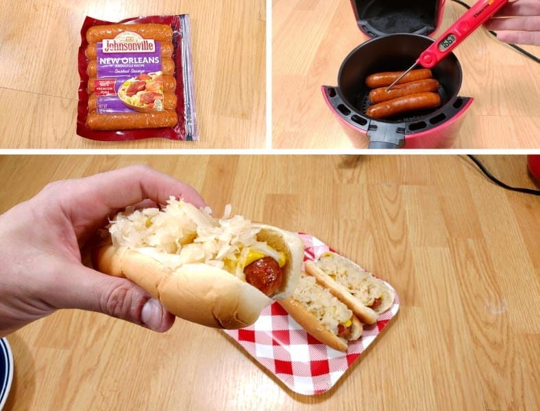 Example of air fryer sausage hot dog cooking