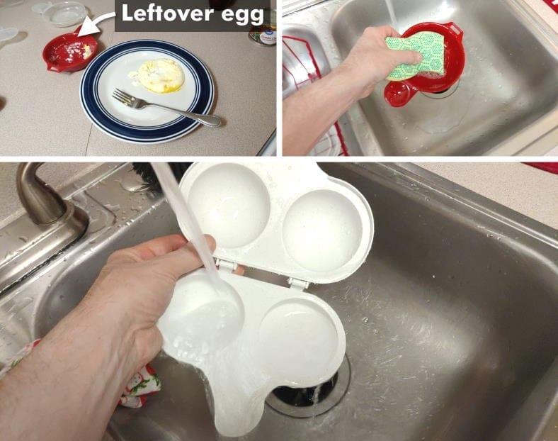 Image showing examples of washing microwave egg cookers by hand