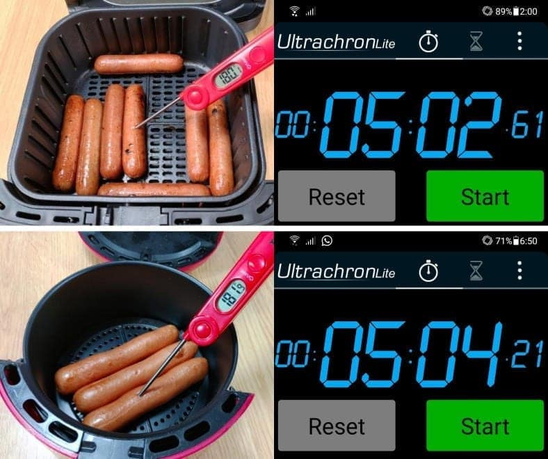 Example of air fryer hot dogs cooked and measured cooking times