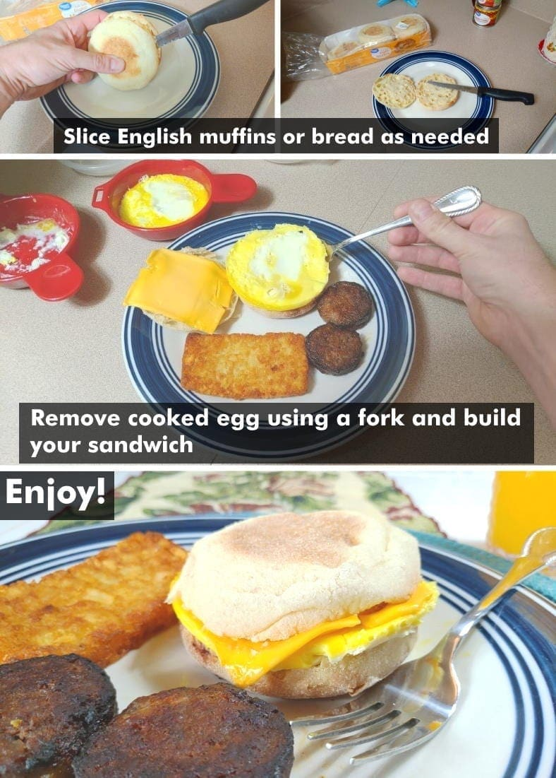 Cooking a microwave egg sandwich final steps examples