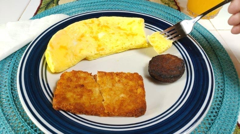 Example of a finished microwave egg omelette