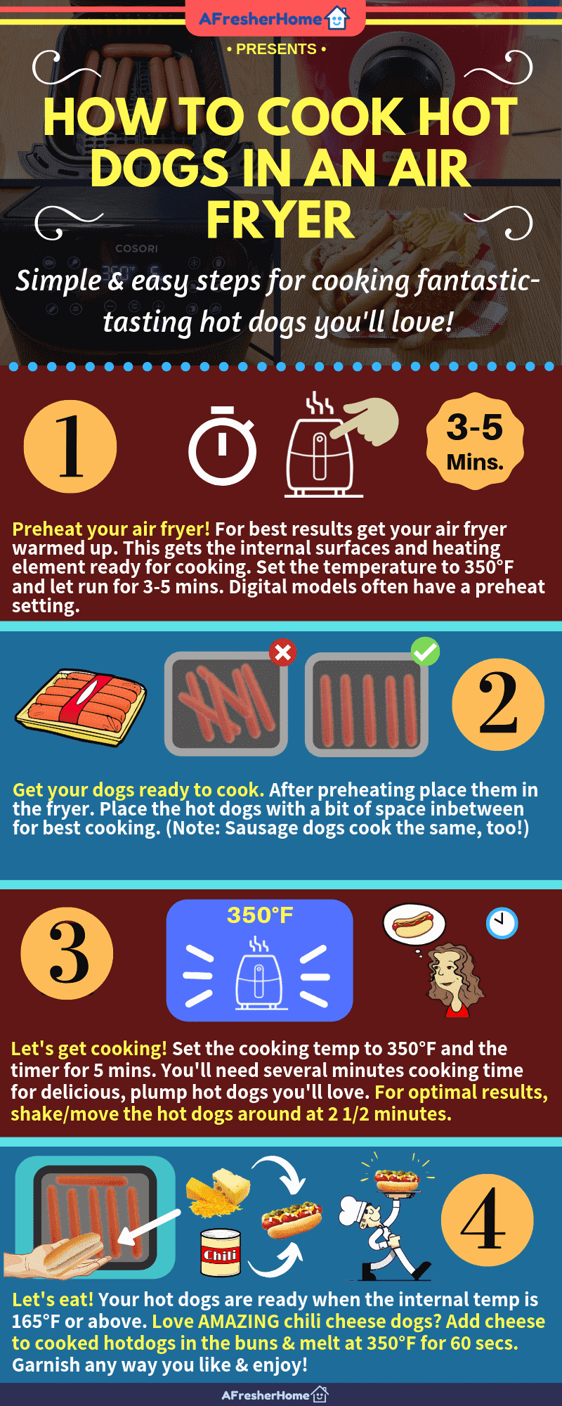 How to cook hot dogs in an air fryer facts & tips infographic