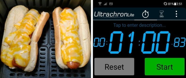 Measuring time for melting cheese on hot dogs in an air fryer