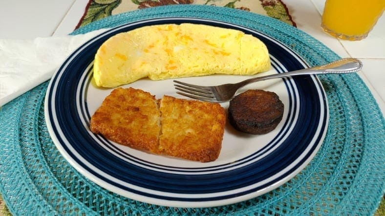 Example of microwave egg cooker omelette breakfast