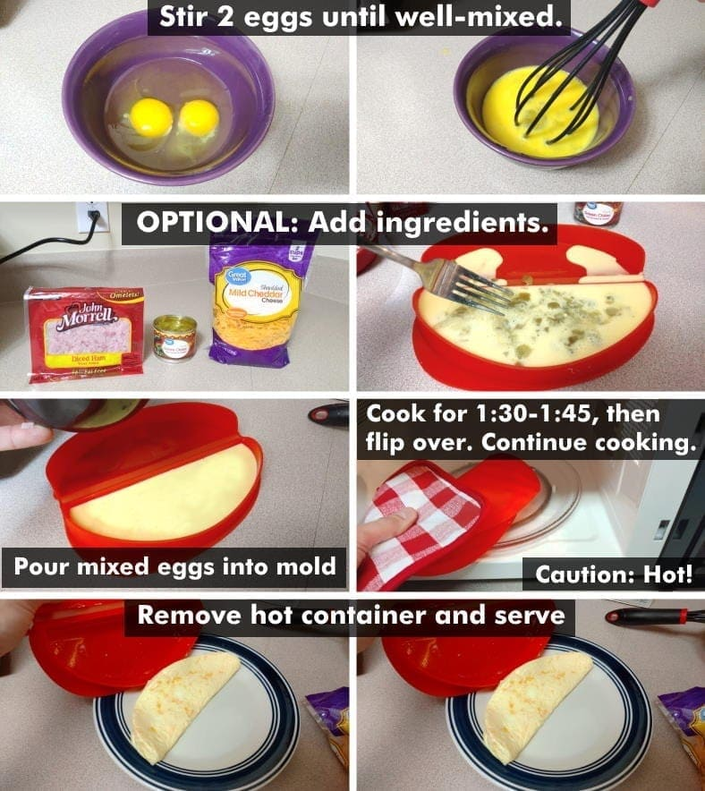 Lekue microwave omelette maker illustrated how-to steps