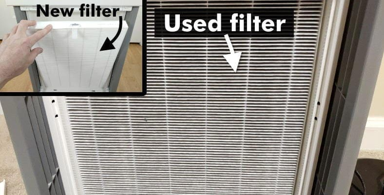 New vs dirty HEPA filter comparison example