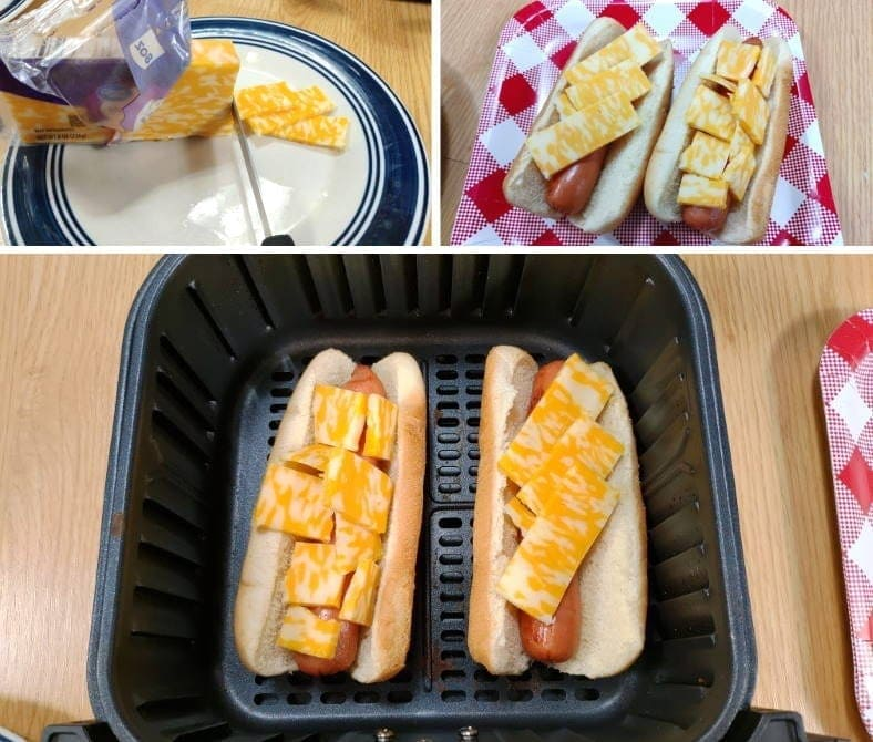 Image showing example of preparing melted cheese hot dogs in an air fryer