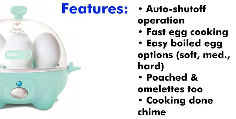 Dash Rapid Egg Cooker features list image