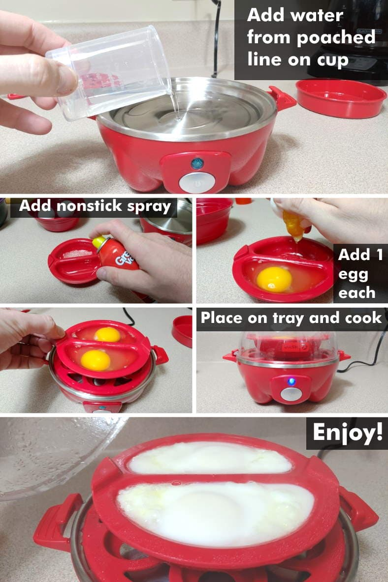 Dash Rapid Egg Cooker how to make poached egg steps illustrated