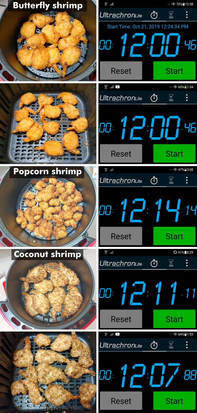 Frozen breaded shrimp air fryer cooking times diagram