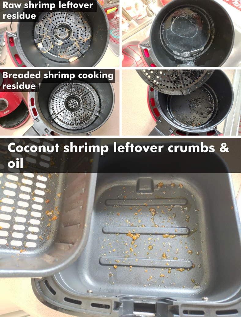 Images of air fryer residue left over after cooking frozen shrimp
