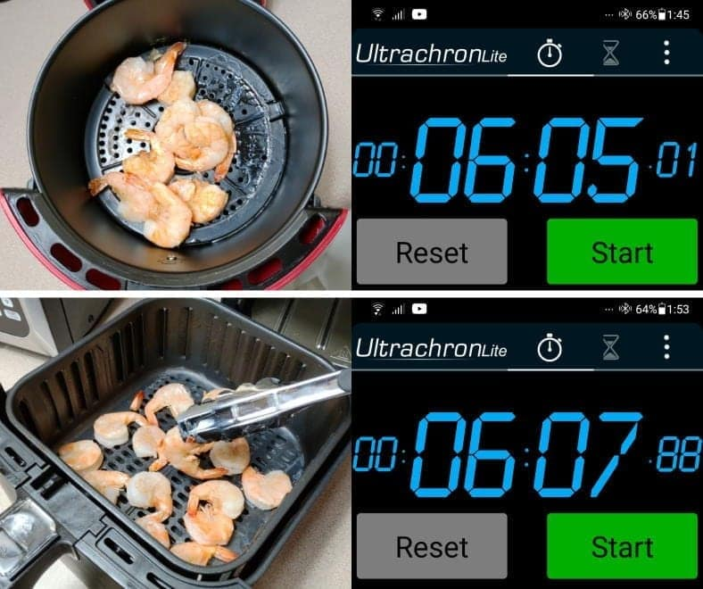 Example Air fryer cooking times for frozen raw shrimp
