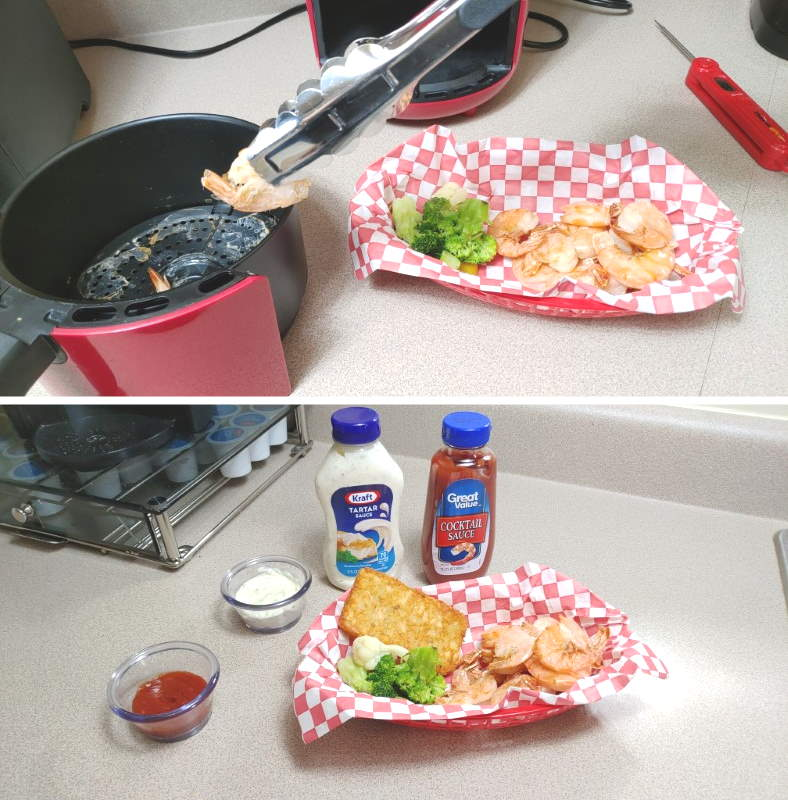 Images of serving cooked raw shrimp in dinner tray with sides and sauces