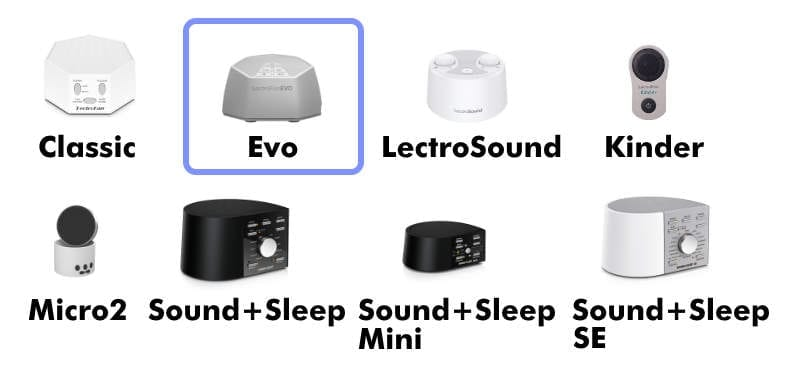 Adaptive Sound Technologies product family image showing LectroFan Evo compared