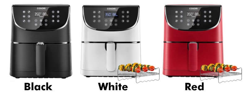 Cosori 3.7 quart air fryer black white and red color options product image