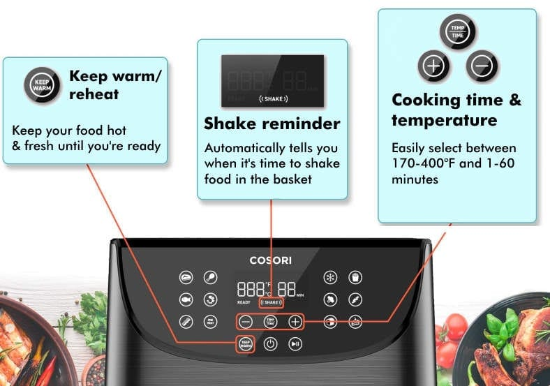 Cosori 3.7 qt air fryer control panel features diagram