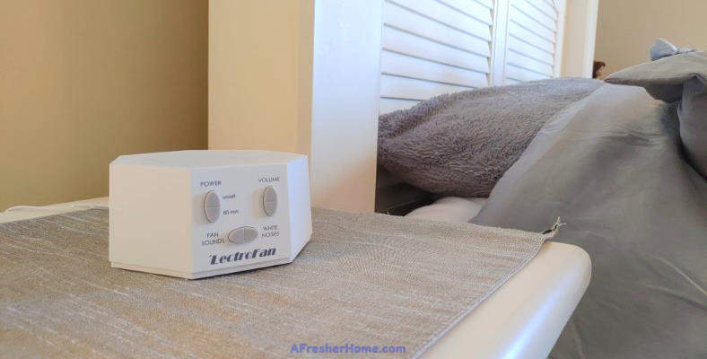 Image of LectroFan white noise machine in bedroom