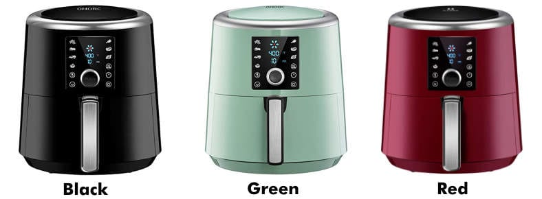 Omorc air fryer black green red color choices product image example