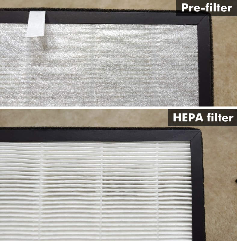 Levoit LV-PUR131 HEPA and pre-filter closeup images