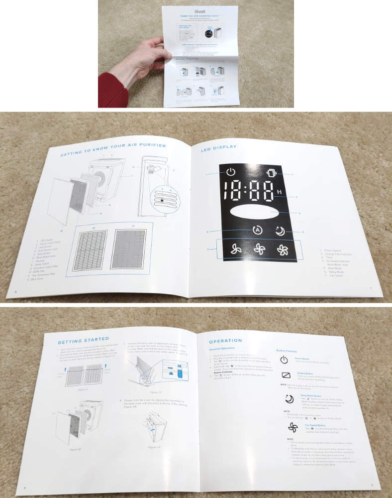 Levoit LV-PUR131 owners manual contents example images